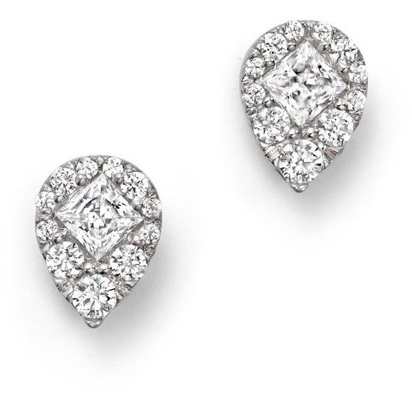 Diamond Princess Cut Cluster Earrings in 14K White Gold, .50 ct. t.w. (3.590 BRL) ❤ liked on Polyvore featuring jewelry, earrings, white, white jewelry, 14 karat white gold earrings, white earrings, bloomingdales earrings and white gold jewellery
