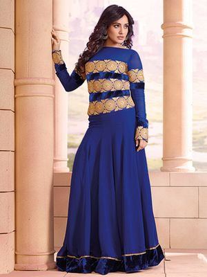 Orange Fab Neha Sharma Blue Anarkali Suit Long And Embroidery Work Anarkalis on Shimply.com
