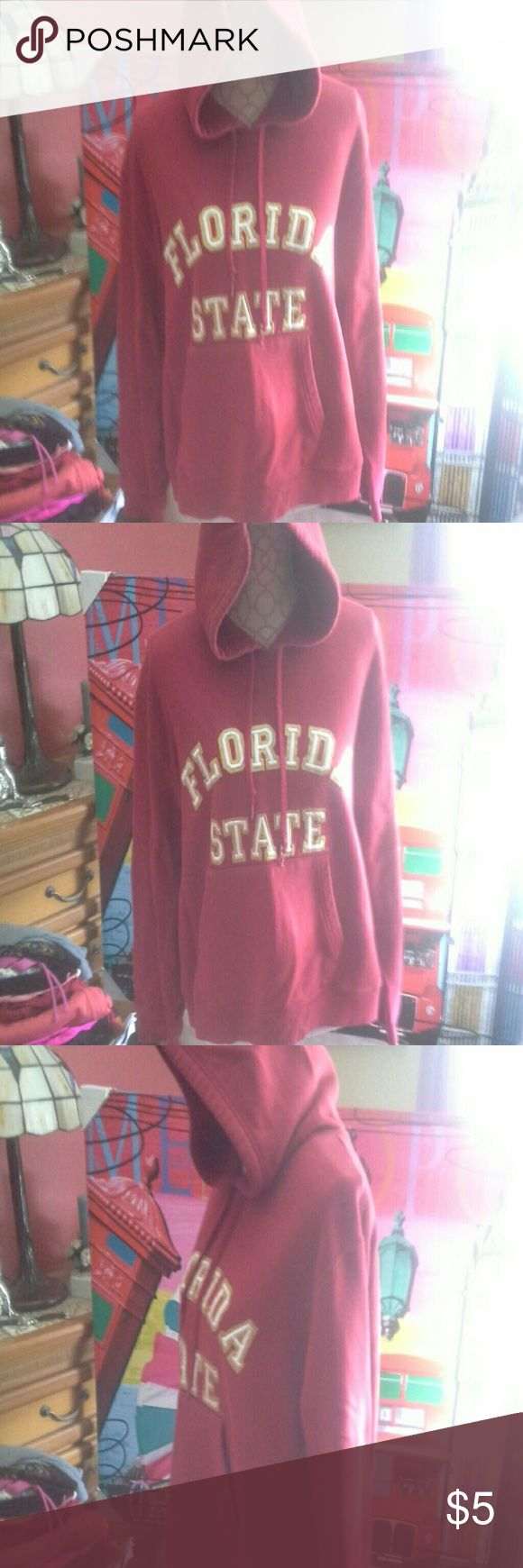 FLORIDA STATE SWEATSHIRT W/ HOOD YOUTH SZ XL J. AMERICA GARNET COLORED FLORIDA STATE HOODED SWEATSHIRT YOUTH SIZE EXTRA LARGE. ( CAN ALSO FIT LADIES SMALL)SUPER SOFT WITH  SOME WEAR BUT REFLECTED IN PRICE. MATERIAL CONTENT IS MACHINE WASHABLE 80 % COTTON AND 20 % POLYESTER. MEASUREMENTS ARE BUST - APPROX 44 INCHES, LENGTH - APPROX 23 INCHES. J. America Shirts & Tops Sweatshirts & Hoodies