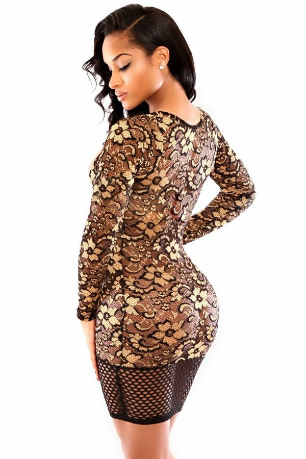 Sexy Women V Neck Gold Lace Club Dress