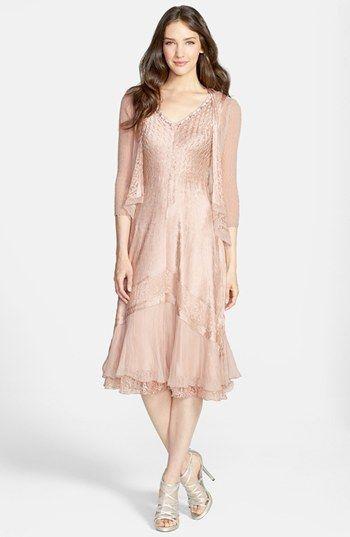 Pink Tea Length Mother of Bride Dresses