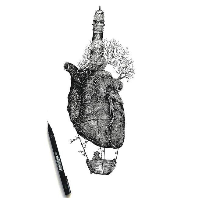 Siyah Beyaz Çizimleri ile Varoluşu Anlatan Ezekiel Moura'dan 20+ İllüstrasyon Sanatlı Bi Blog 27