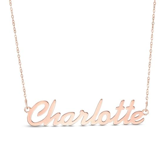 Script Name Necklace In 10k Rose Gold 1 Line 17 In 2020 Name Necklace Jewelry Necklace Layered Personalized Monogram Necklace