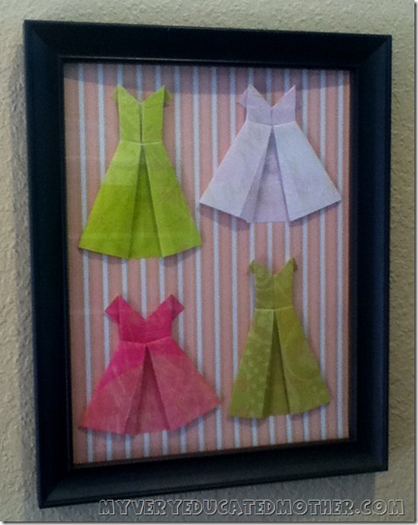 Say Yes to the Dress Wall Art - featured on BlogHer!: Wall Art, Barbie Clothes, Education Mothers, Frames Origami, Barbie Clothing, Paper Dresses, Origami Dresses, Dresses Wall, Dresses Art