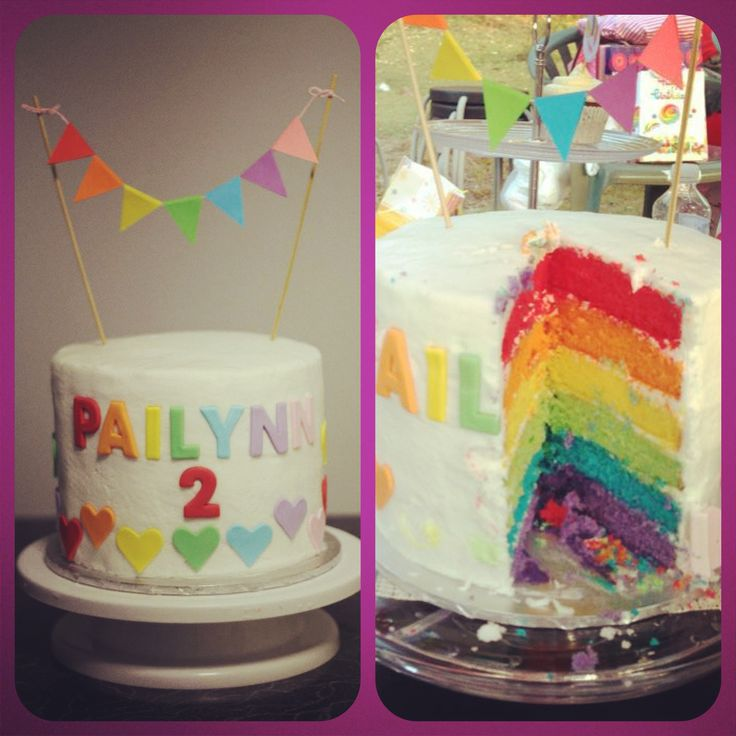 Rainbow cake for my baby girl .. So pretty and delicious