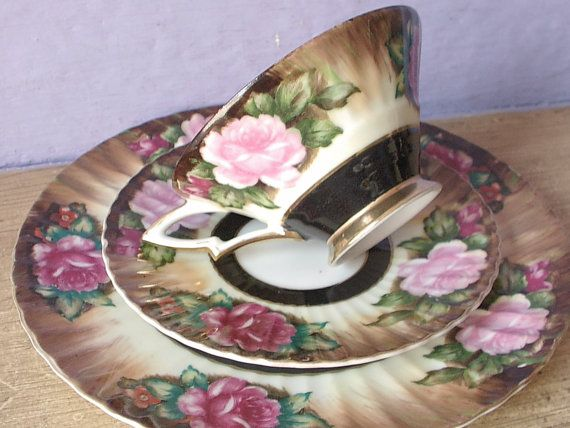 Vintage Lefton china pink roses tea cup trio, hand painted tea cup and saucer…