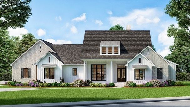 Ad House Plans On Instagram Introducing Architectural Designs Exclusive 4 Bedroom Modern Farmhouse In 2020 Modern Farmhouse Plans Farmhouse Plans Modern Farmhouse