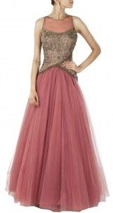 Pink embroidered bodice net gown