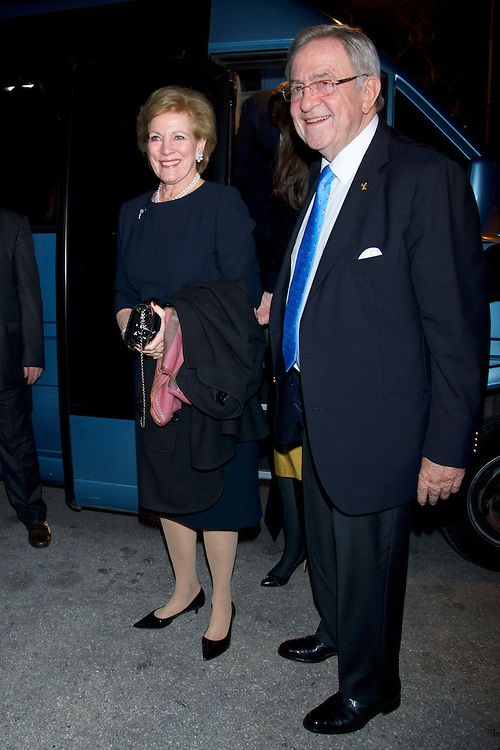 King Constantine II of Greece and his wife Queen Anne Marie of Greece attends the screening of documentary about of King Pavlos of Greece life on 05.03.14 at Gennadius Library in Athens, Greece