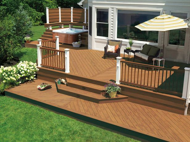 Designer Decks  Made From Natural Wood, Composite and Aluminum : Composite decking offers some big advantages. No need to paint, stain or seal every year, and it is usually better at resisting mildew and warping, which makes it good choice for pools or hot tubs. Photo by TimberTech. From DIYnetwork.com