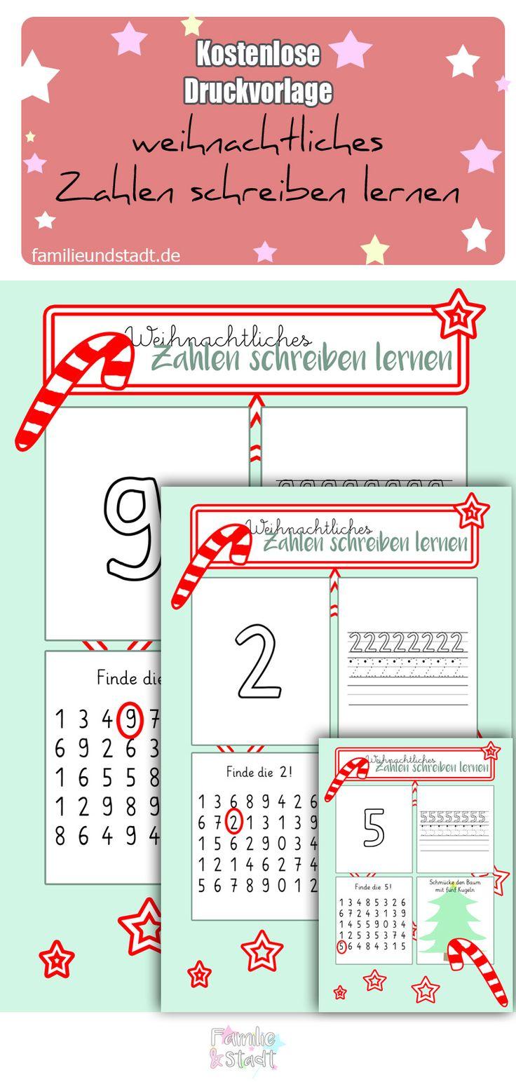 Vorbereitung auf die Schule - Zahlen schreiben lernen, weihnachtliche Druckvorlage für Kinder, Kindergarten Ideen