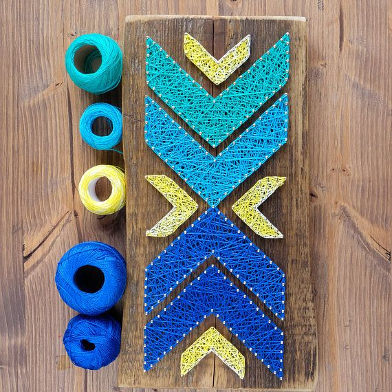 Modern String Art Chevron Wall Blue Ombre Geometric Decor for minimalist, scandinavian style interiors, great gift for friends or family