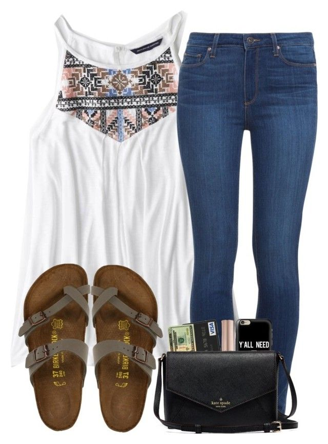"""""""advice in the desc."""" by madiweeksss ❤ liked on Polyvore featuring American Eagle Outfitters, Paige Denim, Birkenstock, Urban Decay and Casetify"""