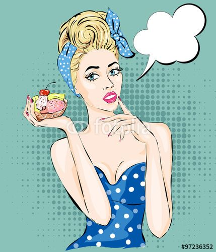 Pop Art illustration woman with morning cup of tea. Pin-up girl ...