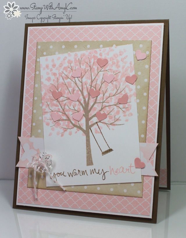 Stampin' Up! ... handmade card: Sheltering Tree ... from Stamp With Amy K ... pretty pinks and beige ... little hears in pink blossoming tree ... sweet look ...