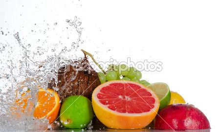 Fresh fruits with water splash — Stock Image #22239633