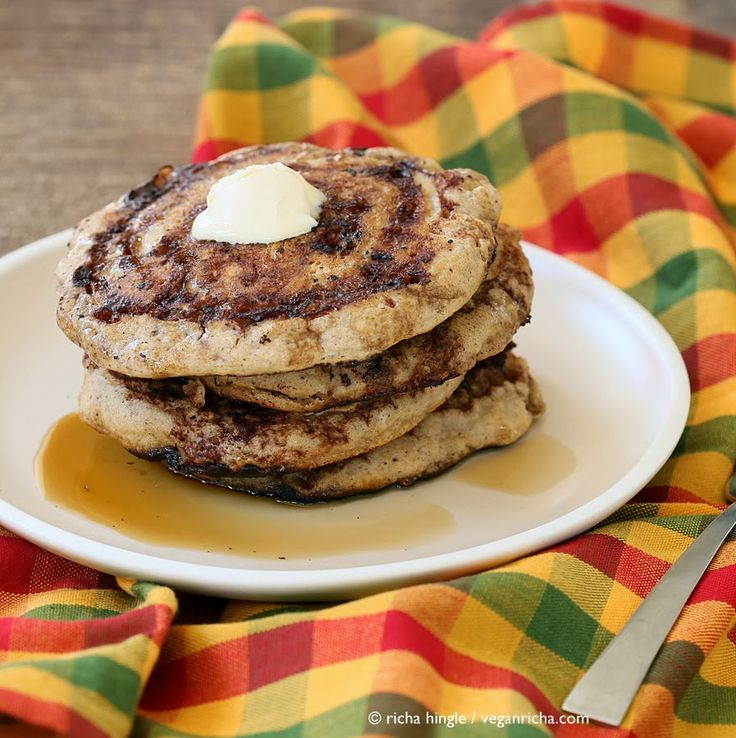 These Vegan Cinnamon Roll Pancakes use my multi-grain pancake mix. Delicious breakfast with With swirls of cinnamon sugar.