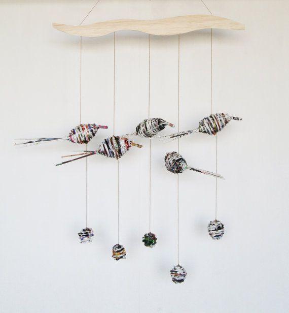 Woven paper bird wallhanging. by YavallaDiseno on Etsy, $45.00