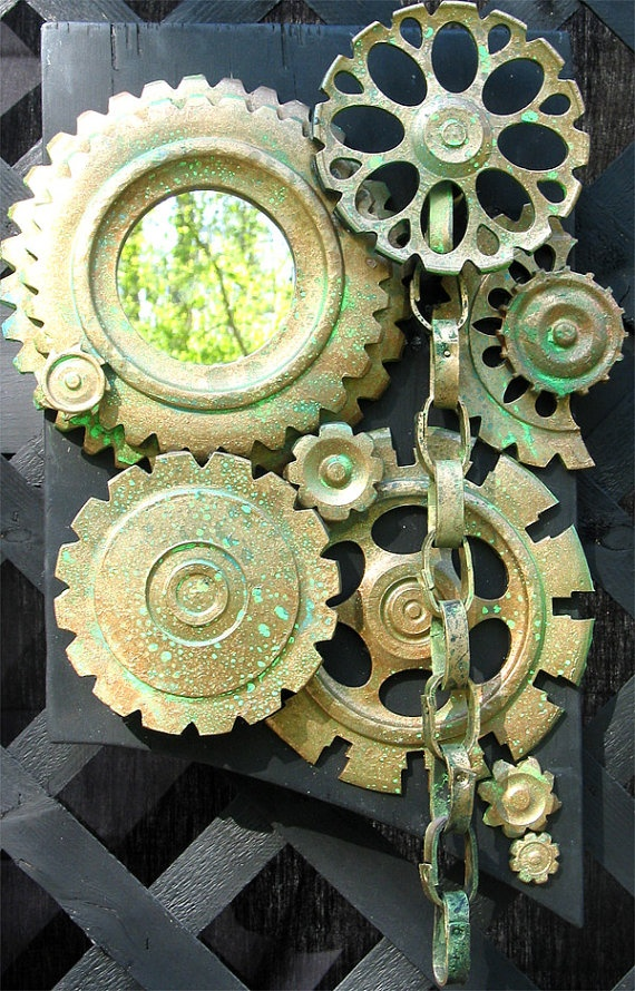 Round Decorative Mirror With Green and Gold Gears by artaramarie, $80.00