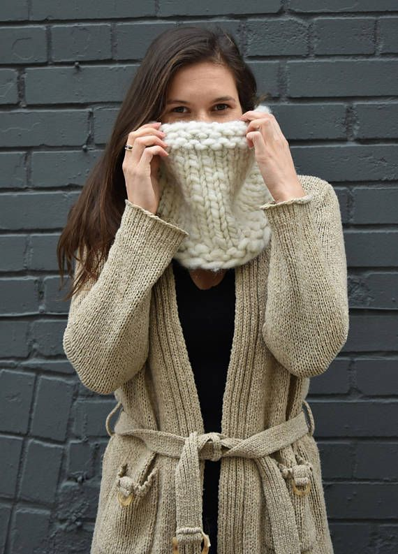 THE REVERSIBLE is a super soft and chunky cowl scarf that can be worn on either side. One side offers a chunkier look, while the other side is more textured. This warm knitted scarf is made with 90% alpaca wool and 10% bamboo. It is the perfect eco-friendly, one of a kind, handmade gift. ($95 CDN)