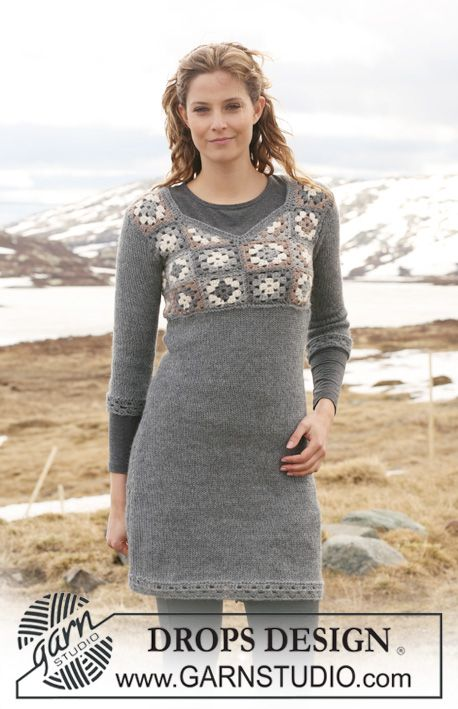 """DROPS tunic in 2 threads """"Alpaca"""" with crochet squares on yoke. Size XS - XXL. ~ DROPS Design"""