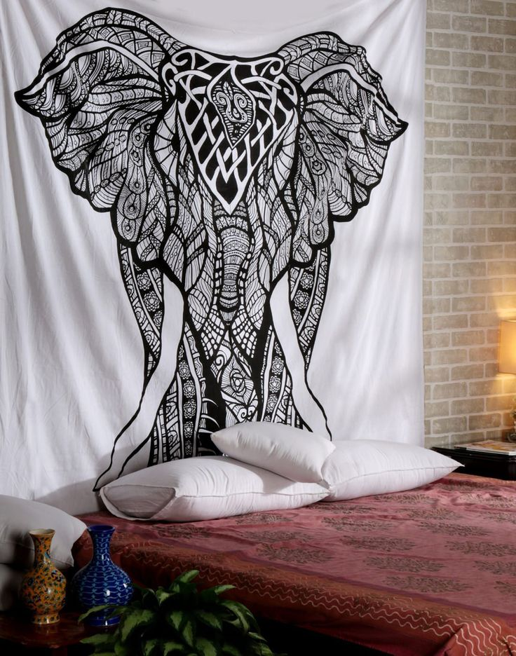 Wall Tapestry Elephant White Tapessier Wall Hanging Hippy Indian Cotton Blanket Hippie Bedspread Curtains Bohemian Bedsheets Psychedelic Tapestries Handmade Boho Home Decotaive Picnic Sheets By Rajrang