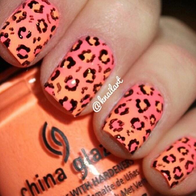 Leopard Orange neon nails