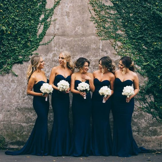 sweetheart navy blue bridesmaid dresses / http://www.deerpearlflowers.com/navy-blue-and-white-wedding-ideas/2/