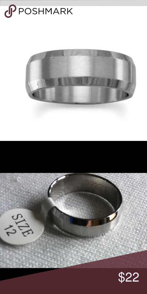 NWT Men's Stainless Steel Beveled Silver Ring 7mm 316L stainless steel band with polished and brushed stainless steel band with beveled edge. Sizes available: 10, 12, and 13. Accessories Jewelry