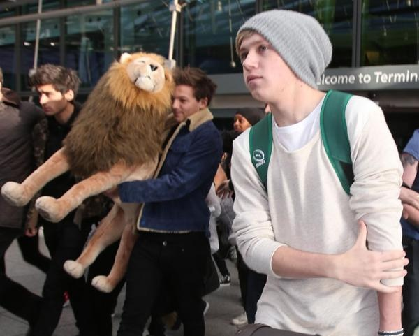 niall looks incredibly hot and lou is carrying around a giant lion. typical