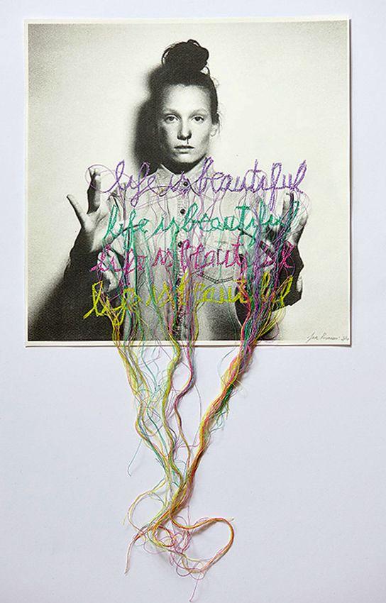 Collage et broderie par Jose Romussi