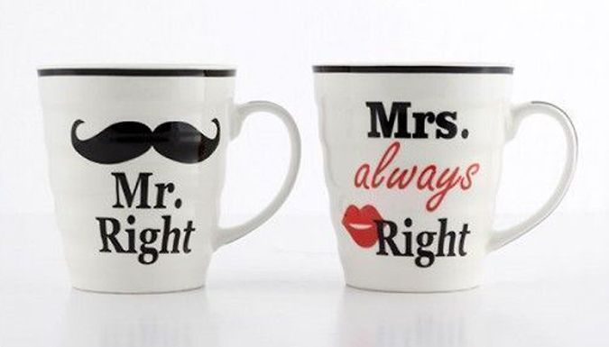 "Buy 'Mr. Right' & 'Mrs. Always Right' Mug Set UK deal for just: £7.99 Settle arguments with this 'Mr. Right'  and  'Mrs. Always Right' Mug Set      2-piece set of co-ordinating novelty porcelain mugs       Features mug with ""Mr Right"" with moustache and ""Mrs Always Right"" mug with red lipstick       Cheeky Valentines' day treat for your special someone      Also perfect as a humorous..."