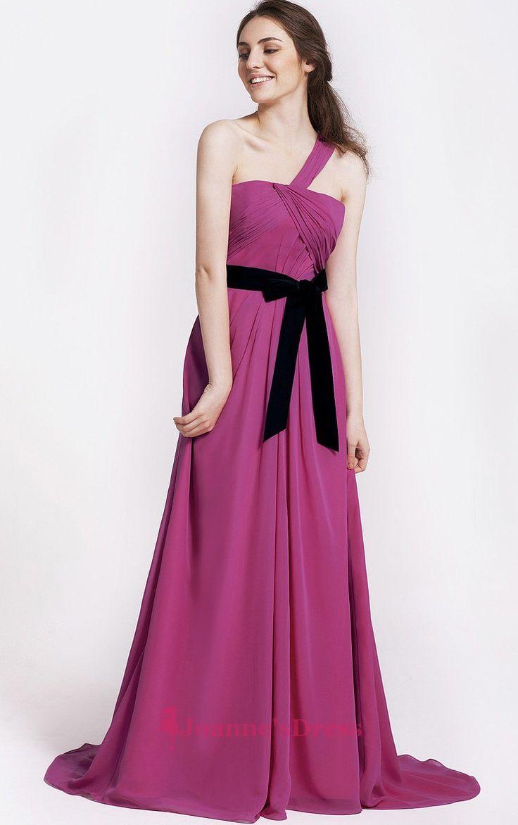 25 best pink bridesmaid dresses images on pinterest pink a line hot pik chiffon sash one shoulder long bridesmaid dress ombrellifo Gallery