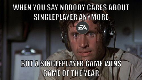 EA's Getting Nervous  https://78.media.tumblr.com/f2cb2a5b46b4b555fd21820af219a991/tumblr_p0r0s6yO5s1uqxjmao1_500.jpg
