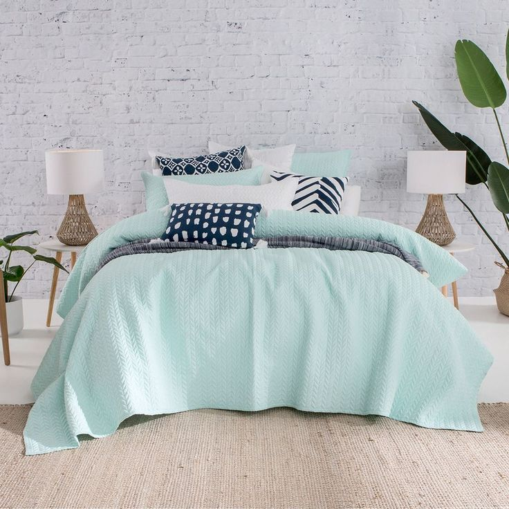 Camden Aqua Coverlet Set - www.pillowtalk.com.au