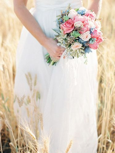 Blue and Pink Bridal Bouquet   photography by http://featherandstone.com.au/