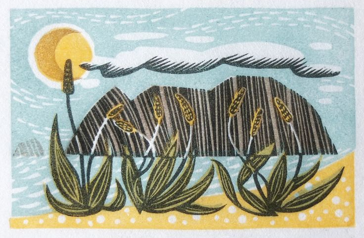 Angie Lewin 'Sea Plantains' wood engraving