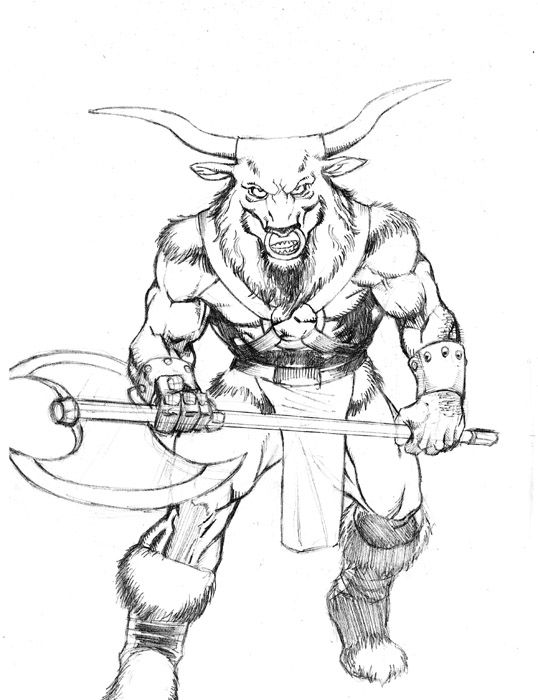Drawing Lines In Webgl : Minotaur from greek mythology line drawing bing images