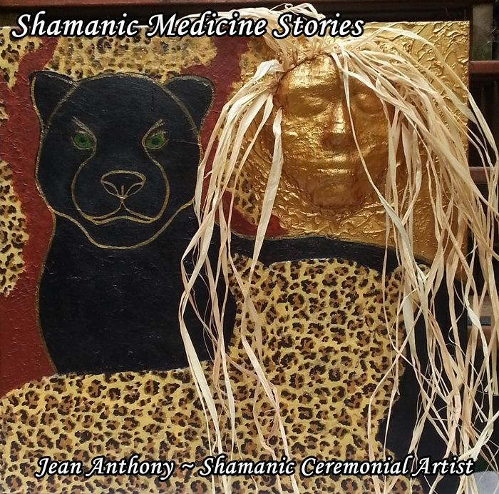 Jaguar Journey ~Custom Artwork ~ Shamanic Medicine Stories 20 x 20 Acrylics and Mixed Media on Canvas ~ Private Collection