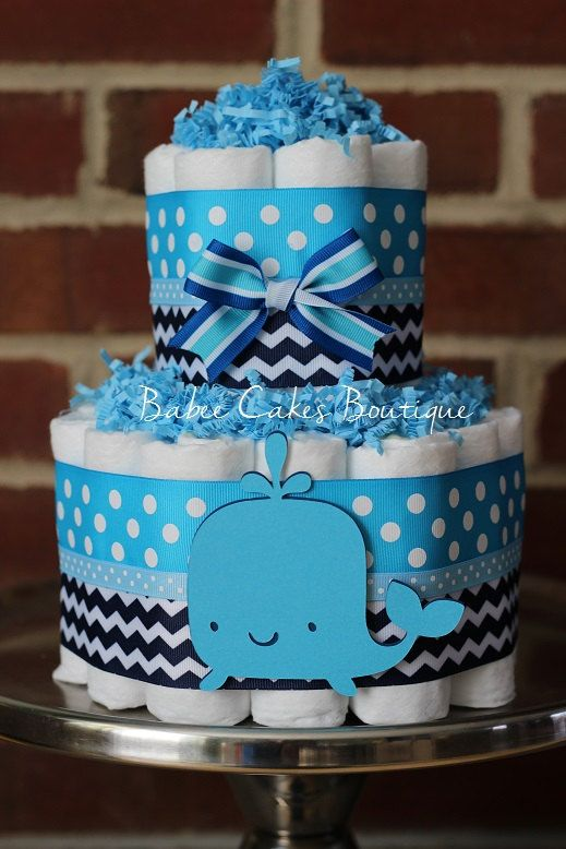 tier whale diaper cake boy baby shower blue navy whale baby shower