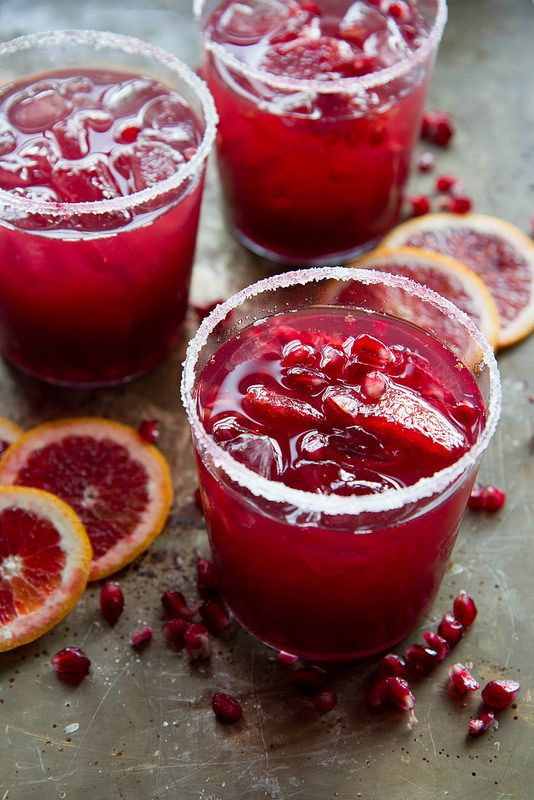 Skinny Blood Orange Pomegranate Margaritas from @heatherchristo