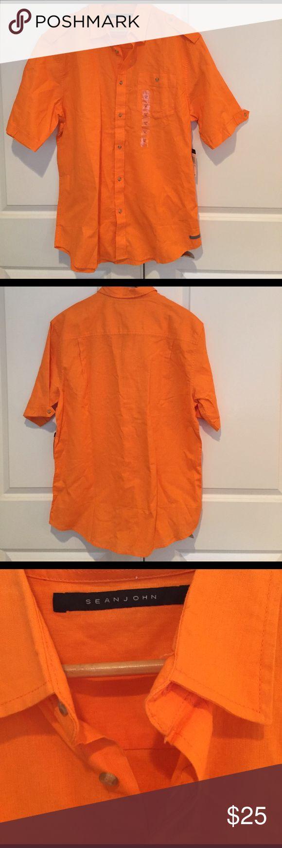 Men's short sleeve shirt linen-cotton blend Sean John short sleeve shirt 55% Linen and 45% cotton Vibrant Orange XL new with tag Sean John Shirts Casual Button Down Shirts