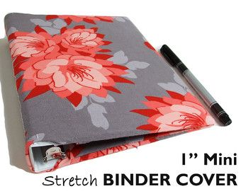 "1"" Mini Binder Cover, FLOWERS ON GREY a5 Binder Cover, a5 Planner Binder, a5 Planner Accessories, Floral a5 Planner Cover, a5 ring binder"
