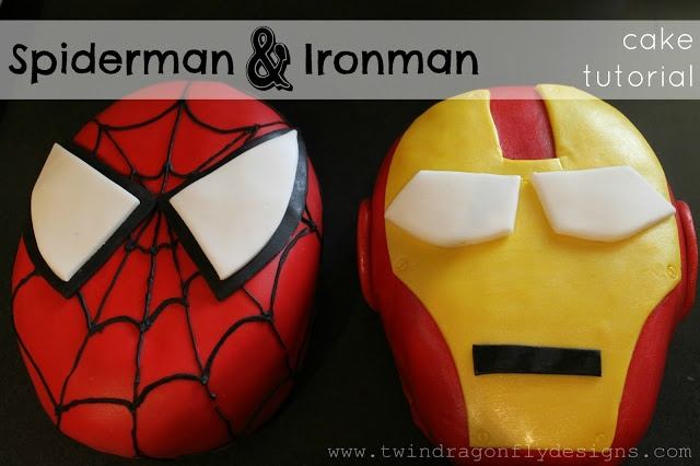 Dragonfly Designs: Spiderman and Ironman Cakes ~ a tutorial (HoH124)- ideas for my babys next birthday