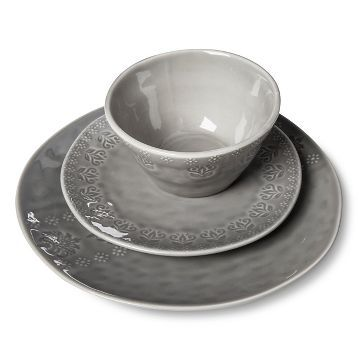 Darby Way Dinnerware Set 12-pc. Light Grey - Beekman 1802 FarmHouse™