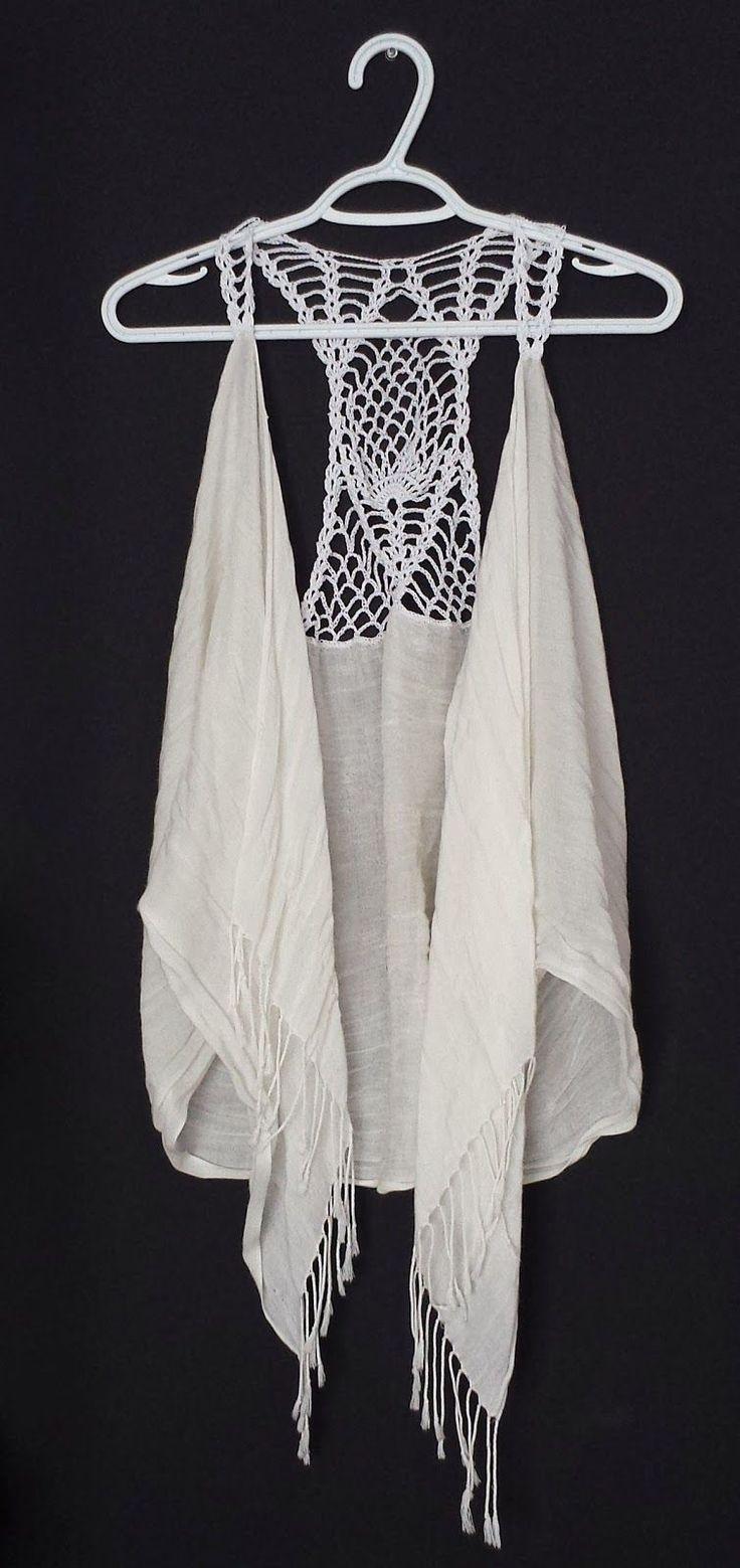 365 Crochet!: Pineapple Racer Back Scarf Vest -free crochet pattern- ☂ᙓᖇᗴᔕᗩ ᖇᙓᔕ☂ᙓᘐᘎᓮ http://www.pinterest.com/teretegui