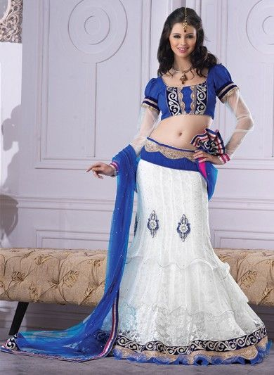 Off White Net and Jacquard Net Lehenga Choli