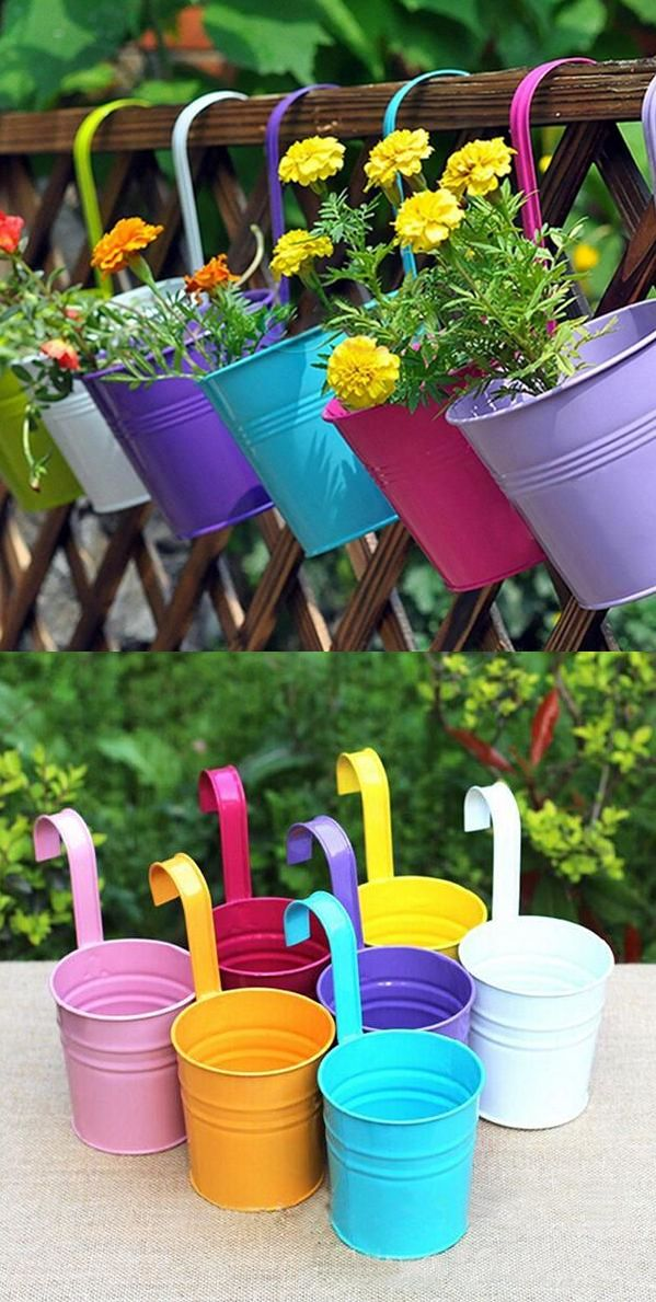 5pcs Fashion Metal Iron Flower Pot Hanging Balcony Garden Plant Planter  Home Decor