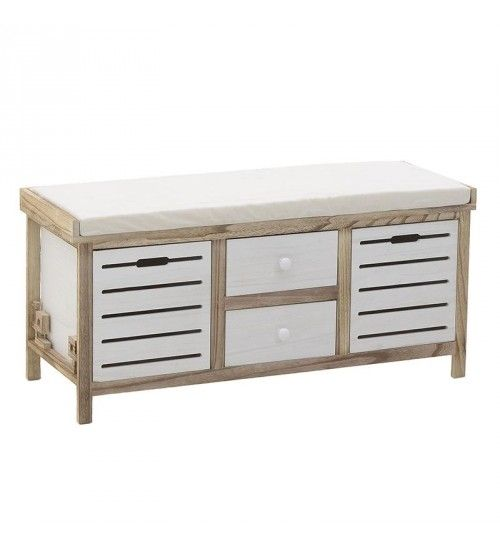 WOODEN BENCH W_4 DRAWERS IN GREY_NATURAL COLOR 100X36Χ45