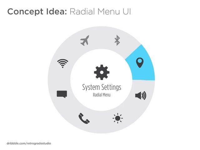 Heres a concept idea I made of a radial menu user interface design. The design can be applied to mobile, tablets, desktop applications and even in video games. This design is to eliminate scrolling through menu categories and having them in a radial circle within the vicinity where the menu was called by using a finger/mouse.  The categories are visually represented in icons in a radial menu. Placing your fingers/mouse on an icon for 1 - 1.5 seconds will call its current function shown …